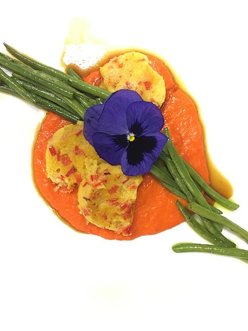 Geröstete Paprika Polenta - Paprika-Püree - grüne Bohnen - Soja Schaum