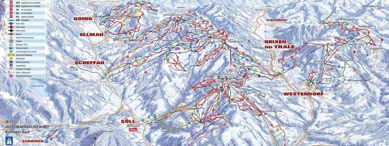 Panoramakarte der Liftanlagen in der Skiwelt Wilder Kaiser - Brixental